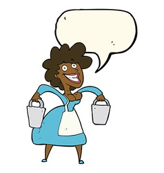 cartoon milkmaid carrying buckets with speech vector image