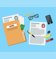 Cartoon view of working place witch papers folder vector