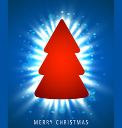 christmas tree made of red paper on blue vector image vector image