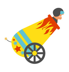 Circus cannon with human cannonball icon vector