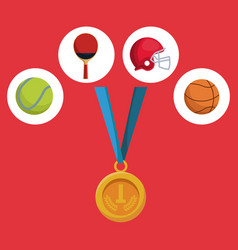 Color background with golden medal first place and vector