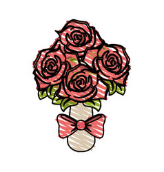 Color crayon stripe image wedding bouquet of pink vector