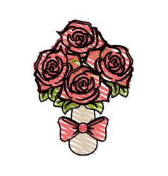 Color crayon stripe image wedding bouquet of pink vector