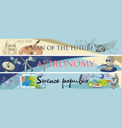 colored doodle science horizontal banners vector image