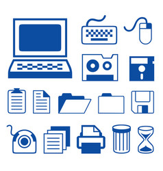 computer accessories technology icons vector image vector image