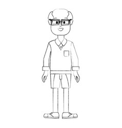 Contour happy man with glasses shirt and short vector