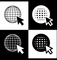 Earth globe with cursor black and white vector