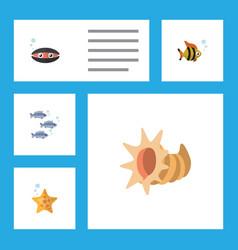 flat icon marine set of seafood scallop tuna and vector image