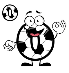 Funny cartoon number zero in football or soccer vector
