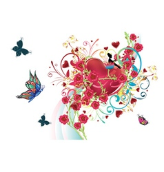 Hearts and Roses2 vector image vector image