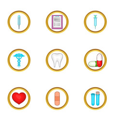 Hospital icon set cartoon style vector