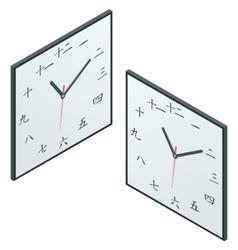 Japanese clock japanese character wall clock vector