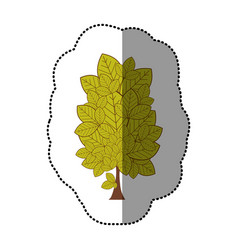 lime green sticker stylized tree icon vector image vector image
