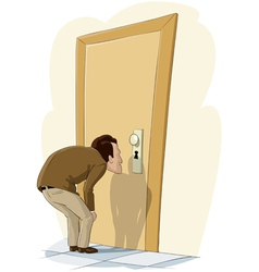 man and door vector image vector image