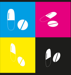 Medical pills sign white icon with vector