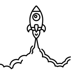 minimalistic rocket launch line icon rocket vector image vector image