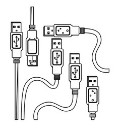 Monochrome background contour with usb cables vector