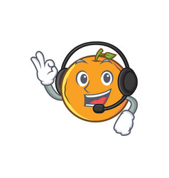 Orange fruit cartoon character with headphone vector