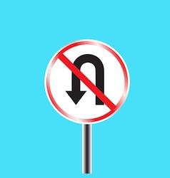 Prohibitory traffic sign u turn prohibited vector image vector image