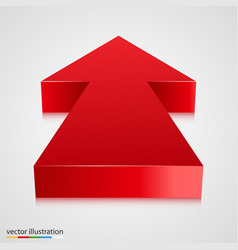 Red 3d arrow pointing towards vector