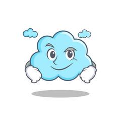 smirking cute cloud character cartoon vector image