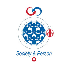 Society and person interaction creative logo vector