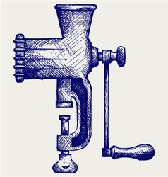 The old manual meat grinder vector image