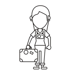 tourist girl travel map and suitcase thin line vector image vector image