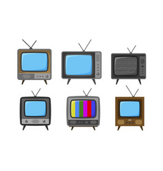 tv television set of icons broadcast video vector image vector image