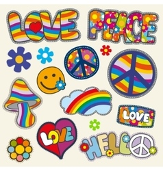 Vintage hippie patches set vector