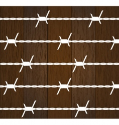 Wood texture with barbed wire vector