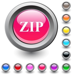 ZIP round button vector image vector image