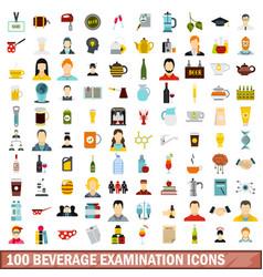 100 beverage examination icons set flat style vector image vector image