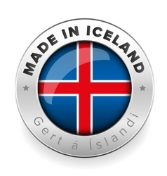 Made in iceland button steel vector