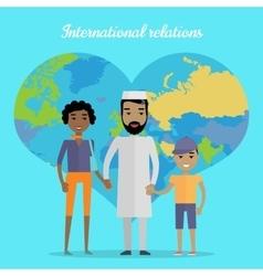 International relations flat design concept vector