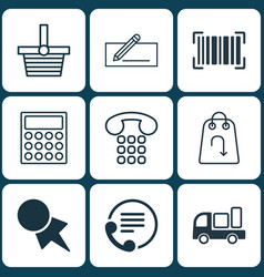 Set of 9 e-commerce icons includes money transfer vector