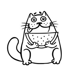 Thick cat with watermelon isolated vector