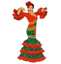 Fashion woman in dress for flamenco vector