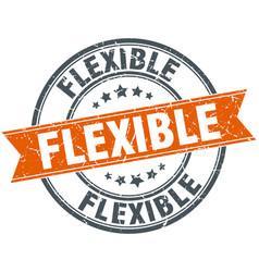 Flexible round grunge ribbon stamp vector