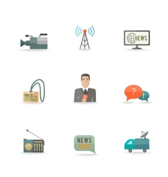 Journalist Reporter Icons Set vector image