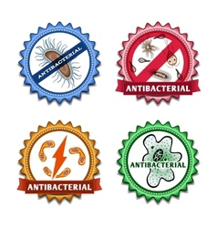 Antibacterial badges set vector