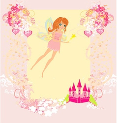 Fairy flying above castle vector