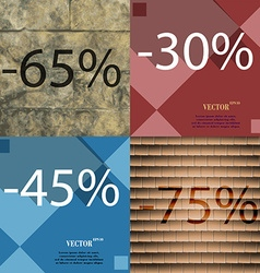 30 45 75 icon set of percent discount on abstract vector
