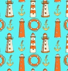 Sketch life bouy lighthouse and anchor in vintage vector