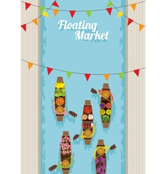 Floating market boat top view vector