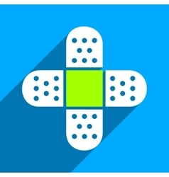 Plaster cross flat square icon with long shadow vector