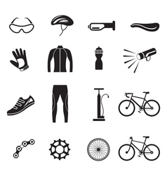 Bicycle Objects and Equipment Icons Set vector image