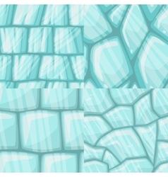 Cartoon seamless cracked ice texture set vector