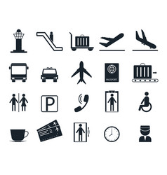 cartoon silhouette black airport icons set vector image vector image