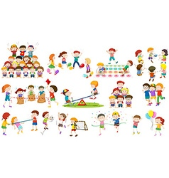 Children play different kind of game vector image vector image
